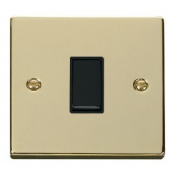 Click Deco Victorian Polished Brass 1 Gang Intermediate 10AX Switch with Black Insert