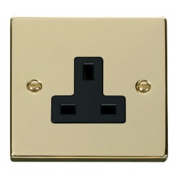 Click Deco Victorian Polished Brass 1 Gang 13A Socket Outlet with Black Insert