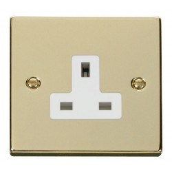 Click Deco Victorian Polished Brass 1 Gang 13A Socket Outlet with White Insert