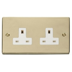 Click Deco Victorian Polished Brass 2 Gang 13A Socket Outlet with White Insert