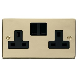 Click Deco Victorian Polished Brass 2 Gang 13A Double Pole Switched Socket Outlet with Black Insert