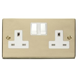 Click Deco Victorian Polished Brass 2 Gang 13A Double Pole Switched Socket Outlet (Clean Earth) with Whit...