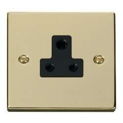 Click Deco Victorian Polished Brass 5A Round Pin Socket Outlet with Black Insert