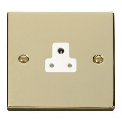 Click Deco Victorian Polished Brass 2A Round Pin Socket Outlet with White Insert