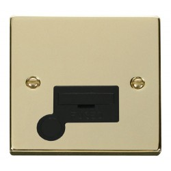 Click Deco Victorian Polished Brass 13A Fused Connection Unit With Flex Outlet with Black Insert
