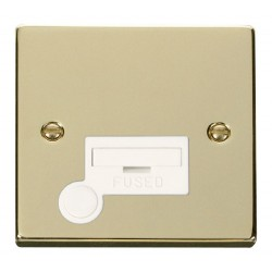 Click Deco Victorian Polished Brass 13A Fused Connection Unit With Flex Outlet with White Insert