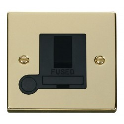 Click Deco Victorian Polished Brass 13A Fused Switched Connection Unit With Flex Outlet with Black Insert