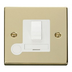 Click Deco Victorian Polished Brass 13A Fused Switched Connection Unit With Flex Outlet with White Insert