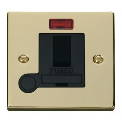 Click Deco Victorian Polished Brass 13A Fused Switched Connection Unit With Flex Outlet with Neon with Bl...