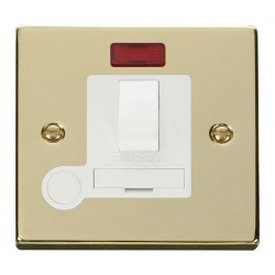 Click Deco Victorian Polished Brass 13A Fused Switched Connection Unit With Flex Outlet with Neon with White Insert