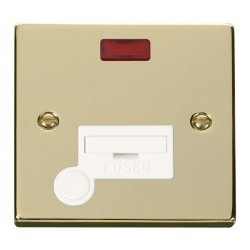 Click Deco Victorian Polished Brass 13A Fused Connection Unit With Flex Outlet with Neon with White Insert