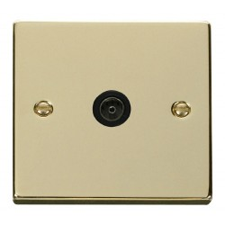 Click Deco Victorian Polished Brass Single Coaxial Socket Outlet with Black Insert
