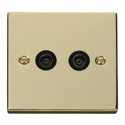 Click Deco Victorian Polished Brass Twin Coaxial Socket Outlet with Black Insert
