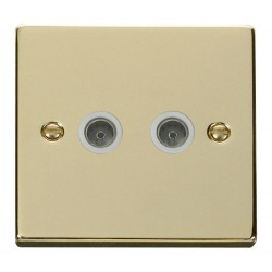 Click Deco Victorian Polished Brass Twin Coaxial Socket Outlet with White Insert