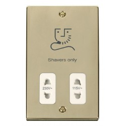 Click Deco Victorian Polished Brass Dual Voltage Shaver Socket Outlet 115/230V with White Insert