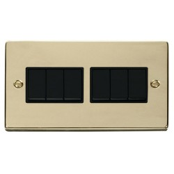 Click Deco Victorian Polished Brass 6 Gang 2 Way 10AX Switch with Black Insert