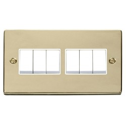 Click Deco Victorian Polished Brass 6 Gang 2 Way 10AX Switch with White Insert