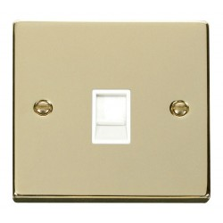 Click Deco Victorian Polished Brass Single RJ11 Socket (Ireland/USA) with White Insert