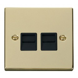Click Deco Victorian Polished Brass Twin Telephone Socket Outlet Master with Black Insert