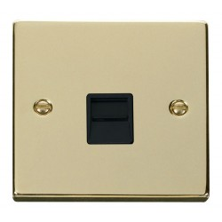 Click Deco Victorian Polished Brass Single Telephone Socket Outlet Secondary with Black Insert
