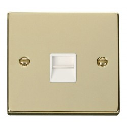 Click Deco Victorian Polished Brass Single Telephone Socket Outlet Secondary with White Insert