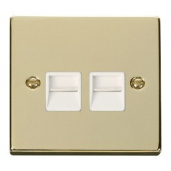 Click Deco Victorian Polished Brass Twin Telephone Socket Outlet Secondary with White Insert