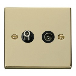 Click Deco Victorian Polished Brass 1 Gang Satellite and Isolated Coaxial Socket Outlet with Black Insert