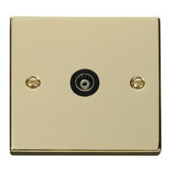 Click Deco Victorian Polished Brass Single Isolated Coaxial Socket Outlet with Black Insert