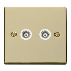 Click Deco Victorian Polished Brass Twin Isolated Coaxial Socket Outlet with White Insert