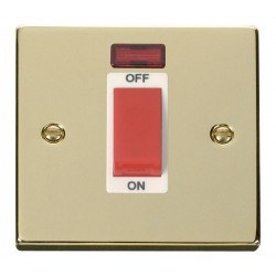 Click Deco Victorian Polished Brass 1 Gang 45A Double Pole Switch With Neon with White Insert