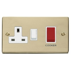 Click Deco Victorian Polished Brass 45A Double Pole Switch and 13A Switched Socket with White Insert
