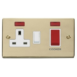 Click Deco Victorian Polished Brass 45A Double Pole Switch and 13A Switched Socket with Neons (2) with White Insert