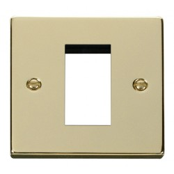 Click Deco Victorian Polished Brass Single Plate Single Media Module Aperture