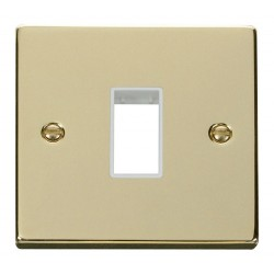 Click Deco Victorian Polished Brass 1 Gang Plate Single Aperture with White Insert