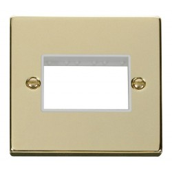 Click Deco Victorian Polished Brass 1 Gang Plate Triple Aperture with White Insert