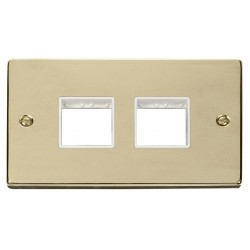 Click Deco Victorian Polished Brass 2 Gang Plate (2 x 2) Aperture with White Insert