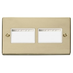 Click Deco Victorian Polished Brass 2 Gang Plate (3 x 3) Aperture with White Insert