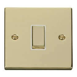 Click Deco Victorian Polished Brass 1 Gang 2 Way Ingot 10AX Switch with White Insert