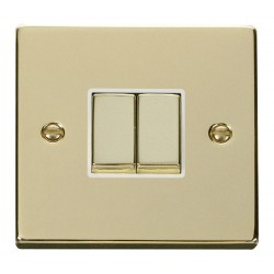 Click Deco Victorian Polished Brass 2 Gang 2 Way Ingot 10AX Switch with White Insert