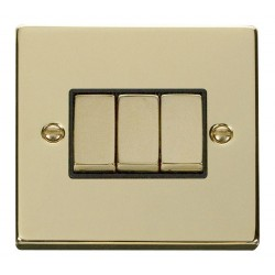 Click Deco Victorian Polished Brass 3 Gang 2 Way Ingot 10AX Switch with Black Insert