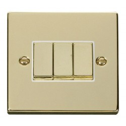 Click Deco Victorian Polished Brass 3 Gang 2 Way Ingot 10AX Switch with White Insert