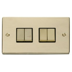 Click Deco Victorian Polished Brass 4 Gang 2 Way Ingot 10AX Switch with Black Insert