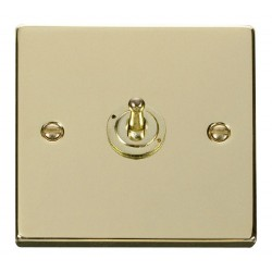 Click Deco Victorian Polished Brass 1 Gang 2 Way 10AX Toggle Switch