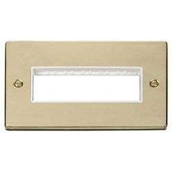 Click Deco Victorian Polished Brass 2 Gang Plate 6 In-Line Aperture with White Insert