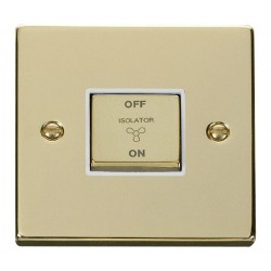 Click Deco Victorian Polished Brass 10A 1 Gang Ingot 3 Pole Fan Isolation Switch with White Insert