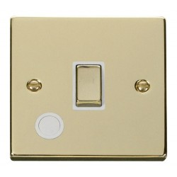Click Deco Victorian Polished Brass 20A 1 Gang Double Pole Ingot Switch With Flex Outlet with White Insert