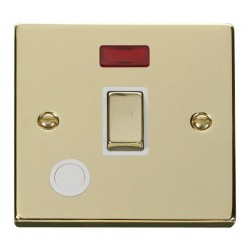 Click Deco Victorian Polished Brass 20A 1 Gang Double Pole Ingot Switch With Flex Outlet And Neon with White Insert