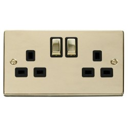 Click Deco Victorian Polished Brass 2 Gang 13A Double Pole Ingot Switched Socket Outlet with Black Insert