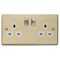 Click Deco Victorian Polished Brass 2 Gang 13A Double Pole Ingot Switched Socket Outlet with White Insert