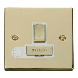 Click Deco Victorian Polished Brass 13A Fused Ingot Switched Connection Unit With Flex Outlet with White Insert